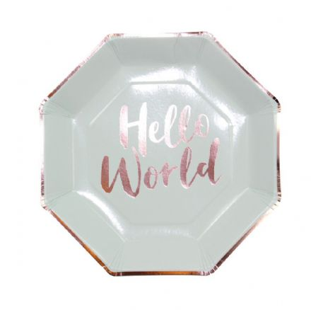 Hello World Party Plates - pack of 8